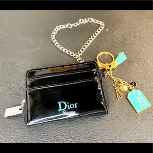 Dior beauty line card and coin pouch keychain